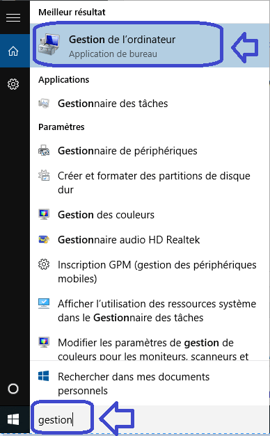 windows 10 gestion de l'ordinateur sospc.name