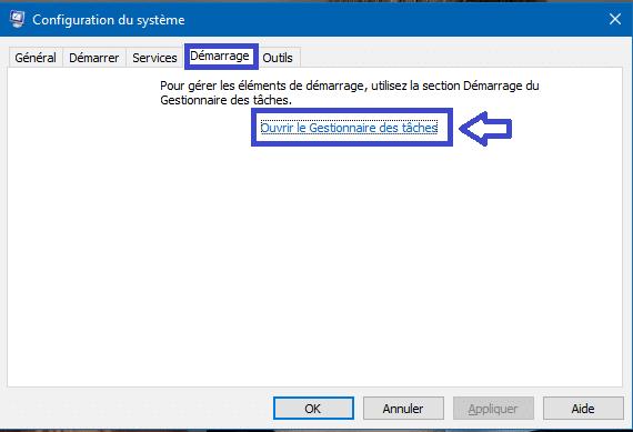 désactiver programme démarrage w 8 w10.1