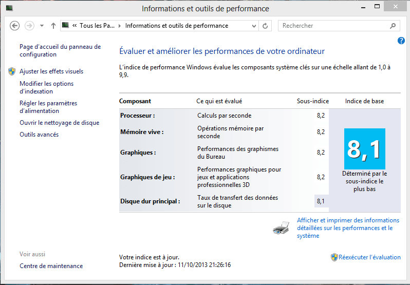 Windows 8.1 / 10 : Retrouver l'indice de performance.