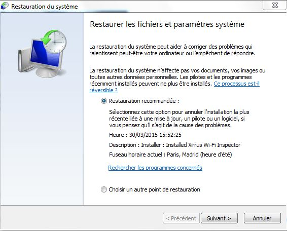 utiliser point restauration