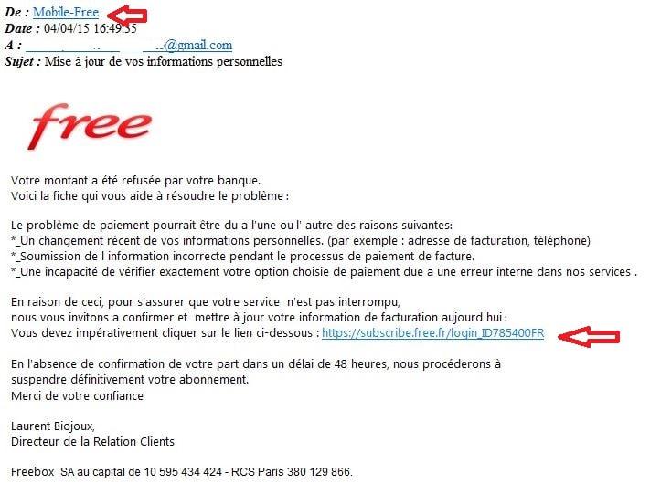 free mail piège