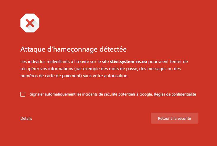 alerte mot de passe phishing détecté