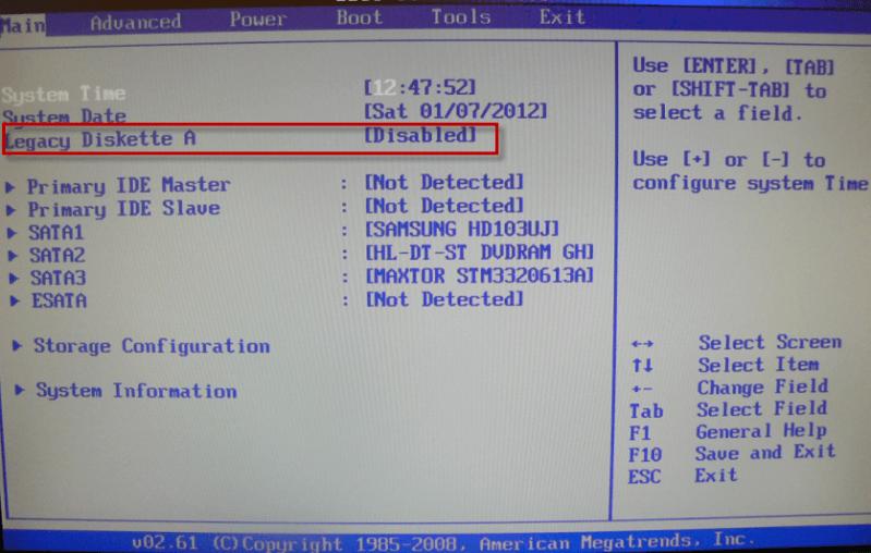 bios disquette désactiver