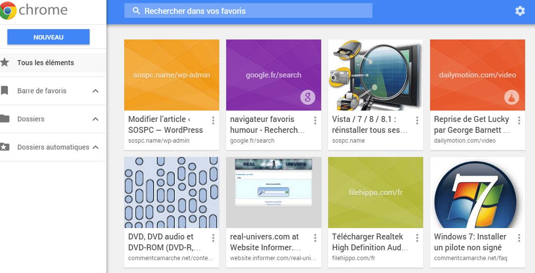 Chrome : retrouver l'ancien gestionnaire des Favoris.