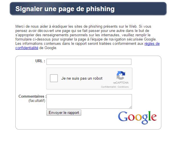 signaler page phishing