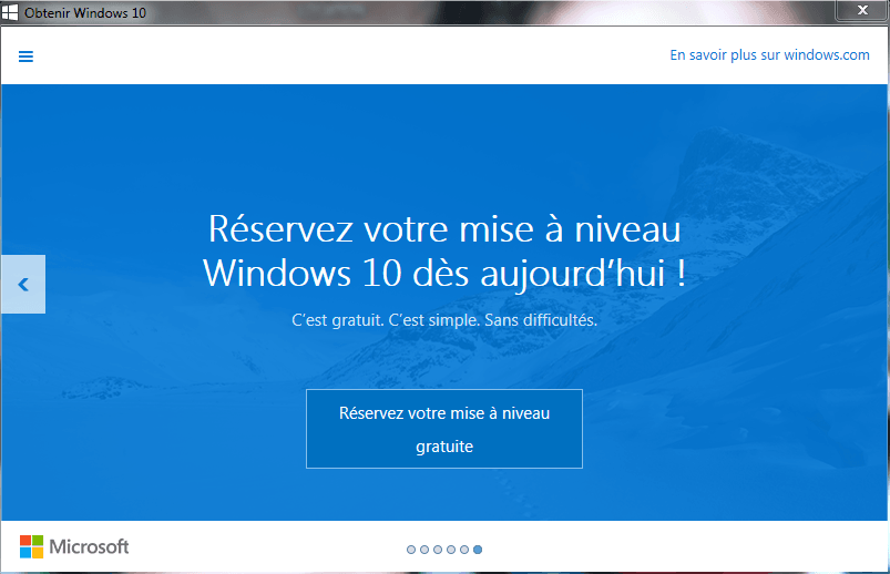 Mise à niveau gratuite de Windows 10