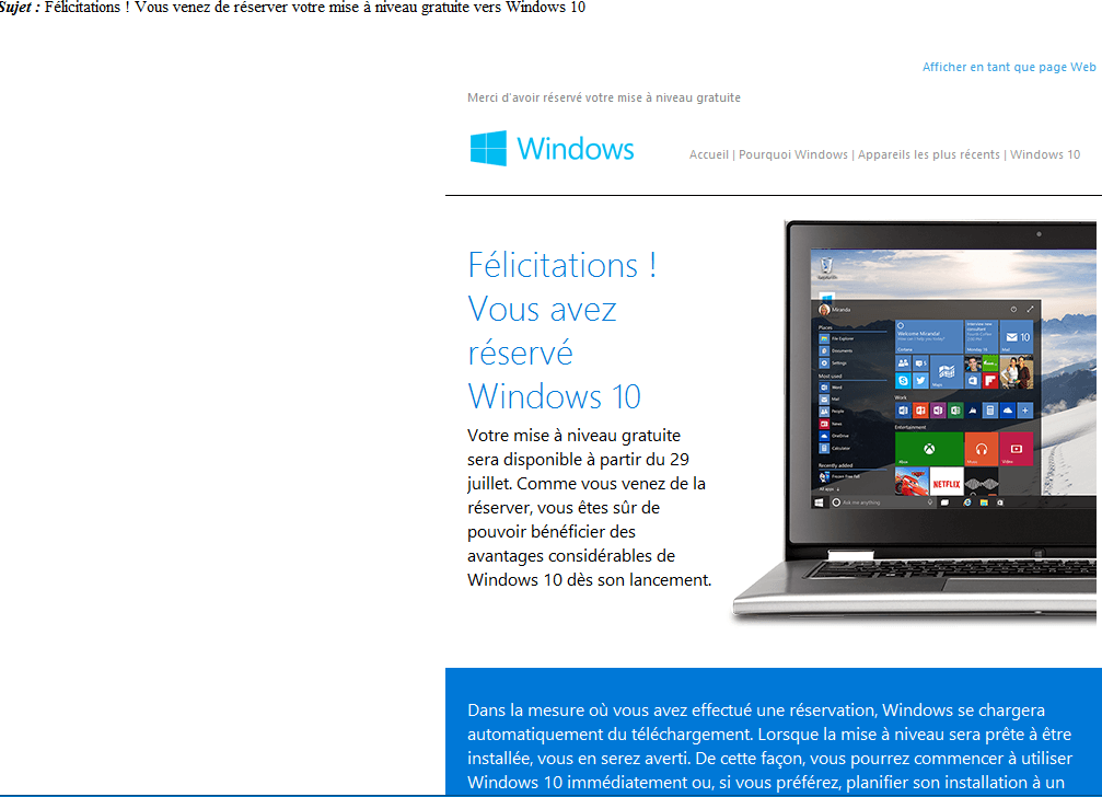 w10 mail confirmation