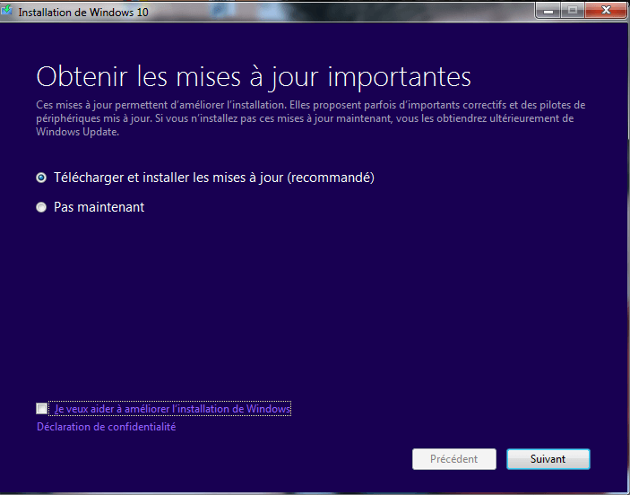 Installation Windows 10.C