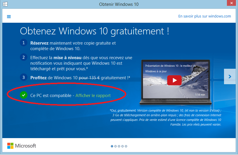 windows 10 ce pc est compatible sospc