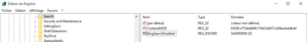 windows 10 désactiver recherche web barre des taches.2ème méthode.5