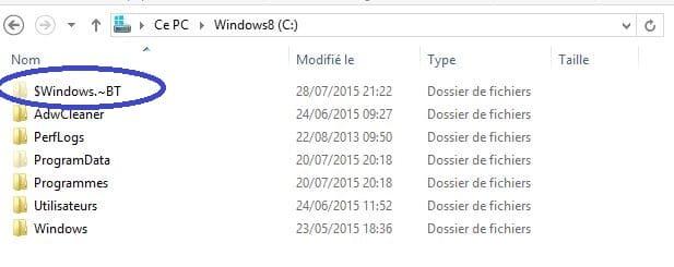 windows 10 dossier téléchargement migration