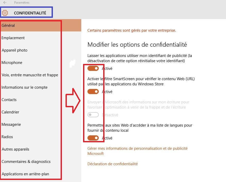 confidentialité windows 10.réglages.2