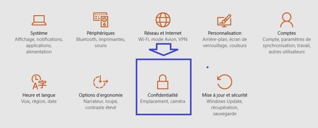 confidentialité windows 10.réglages.autre méthode.suite
