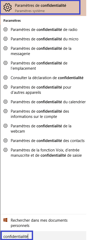 confidentialité windows 10.réglages