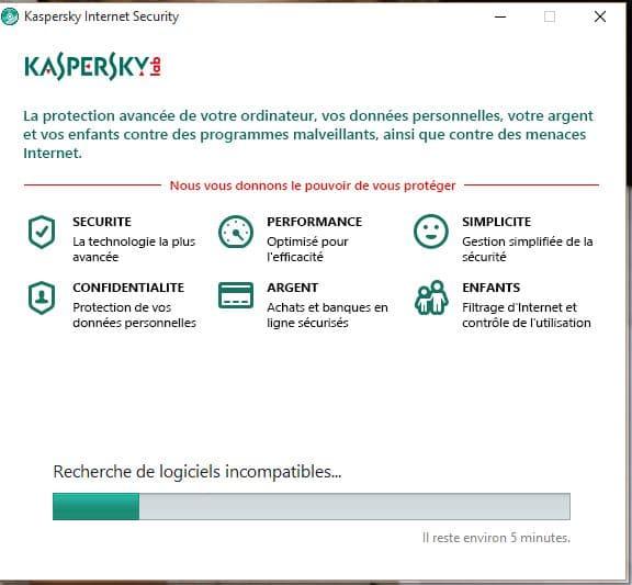 installation kasperky 2016 RECHERCHE LOGICIELS INCOMPATIBLES