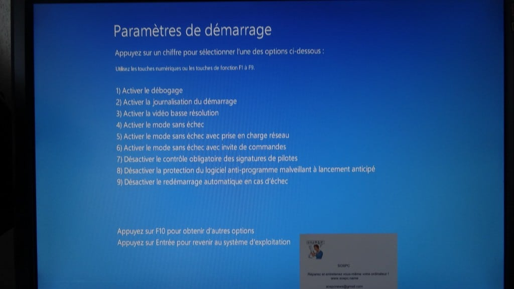 Démarrer en mode sansd echec avec Windows 8 ou 10 sospc.name