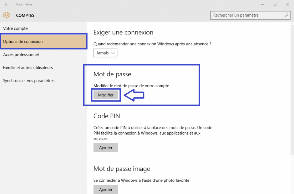 windows 10 changer mot de passe sospc