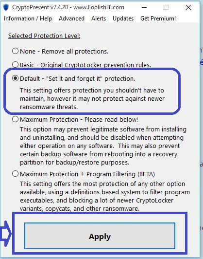 crypto prevent sospc.name choix niveau de protection