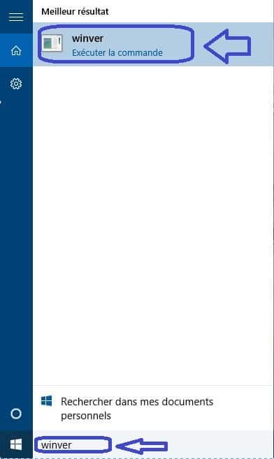 windows 10 numéro de version.chercher