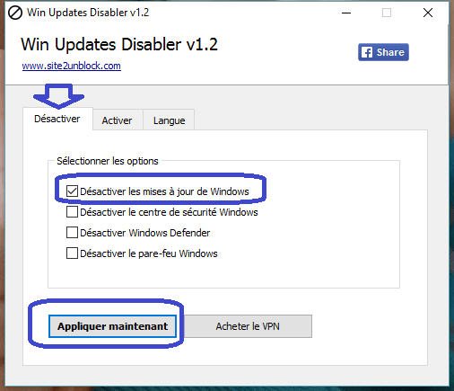 Win Updates Disabler tutoriel utilisation sospc.name 1