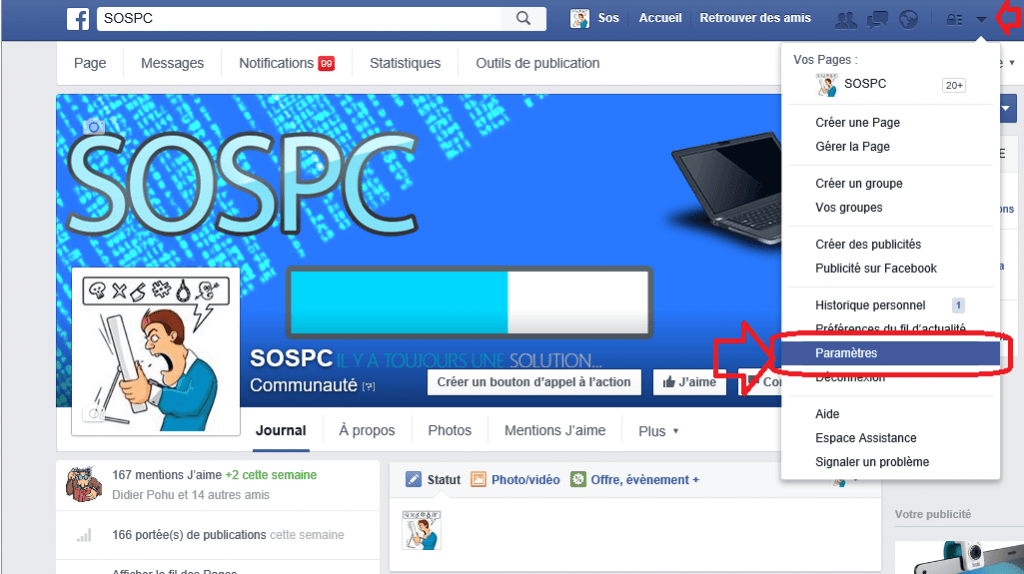 facebook notifications coin écran sospc.name