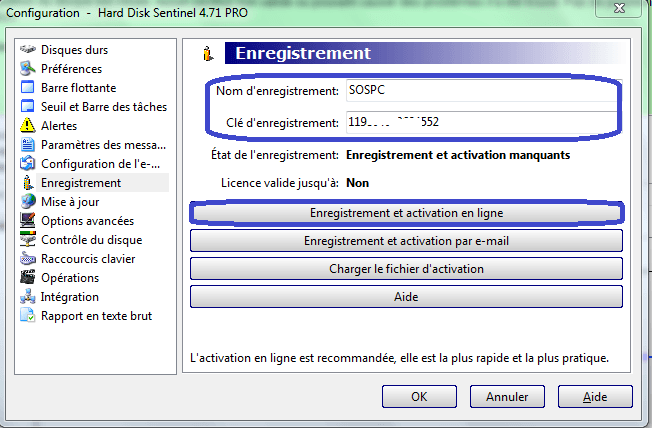 HARD DISK SENTINEL ENREGISTREMENT