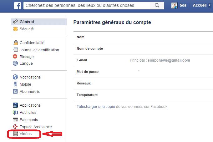facebook désactiver démarrage automatique vidéos 2