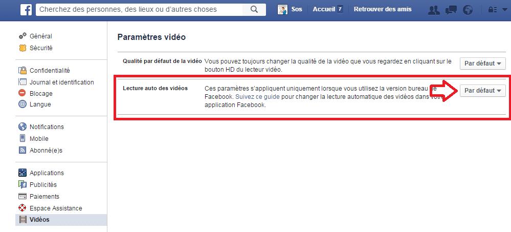 facebook désactiver démarrage automatique vidéos 3