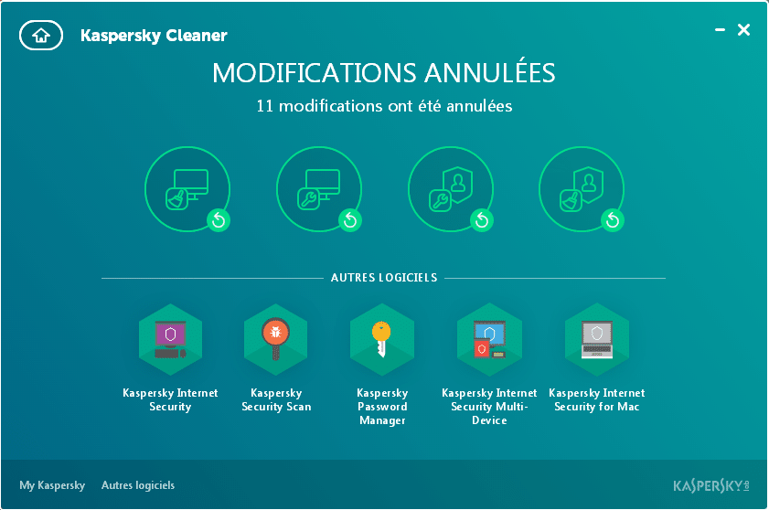 kaspersky cleaner modifications annulées