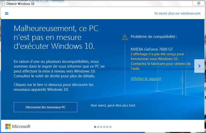 malheureusement ce pc n'est pas en mesure d'exécuter windows 10 sospc.name