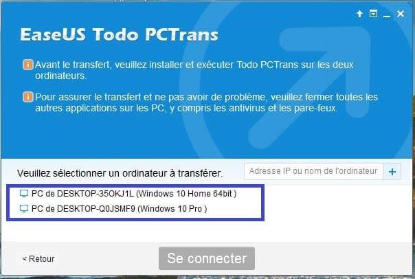 tutoriel sospc.name easeus pctrans 3 pcs connectés