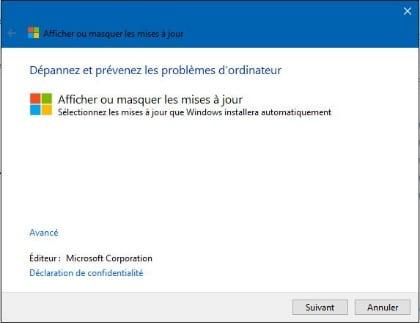 Empêcher temporairement une mise à jour de Windows, tuto didpoy www.sospc.name 2