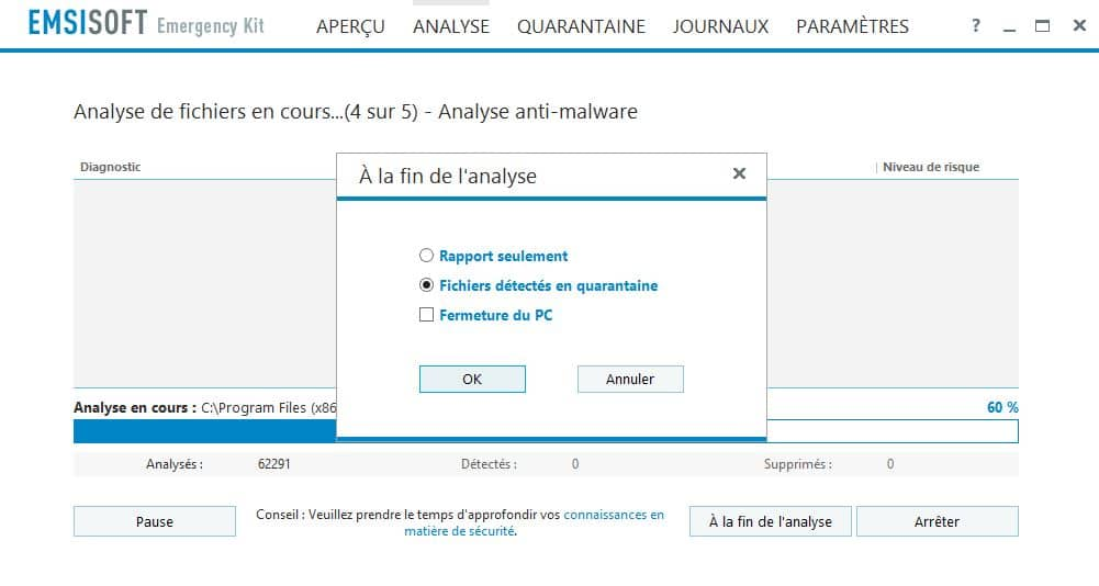PC infecté  Emsisoft Emergency Kit, une solution d'urgence, par Didier sospc.name 19