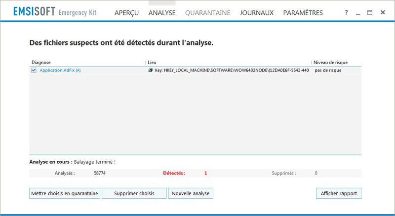 PC infecté  Emsisoft Emergency Kit, une solution d'urgence, par Didier sospc.name 20