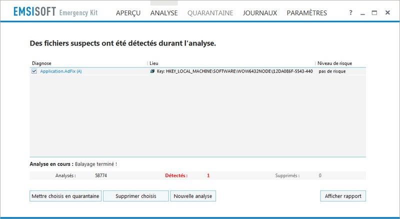PC infecté Emsisoft Emergency Kit, une solution d'urgence, par Didier sospc.name 20