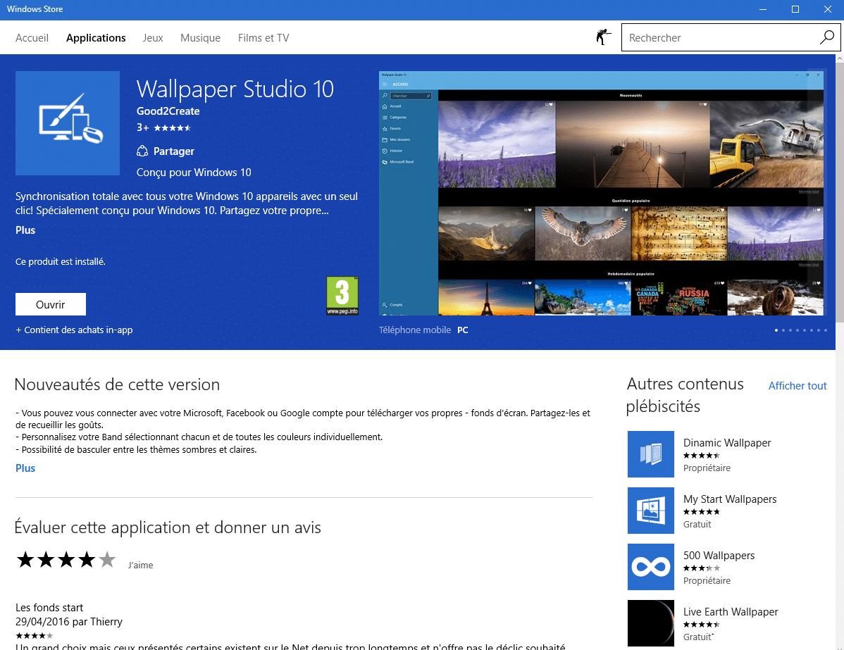 Wallpaper Studio 10 avec Windows 10, par Thierry.