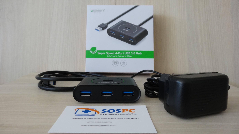 Hub 4 ports USB 3 de marque Ugreen.