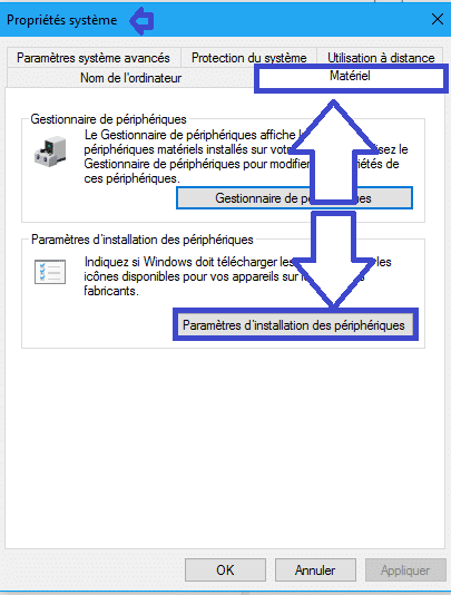 désactiver installation automatique pilotes sous Windows 10