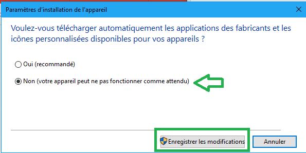 désactiver installation automatique pilotes sous Windows 10