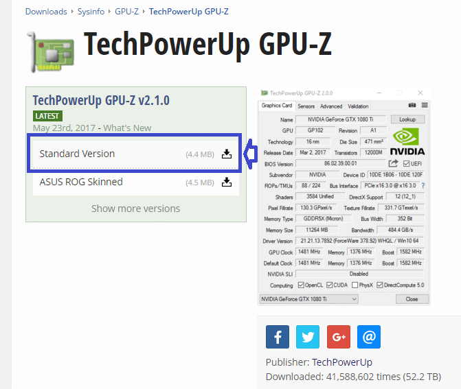 GPU-Z 2 TÉLÉCHARGER DOWNLOAD