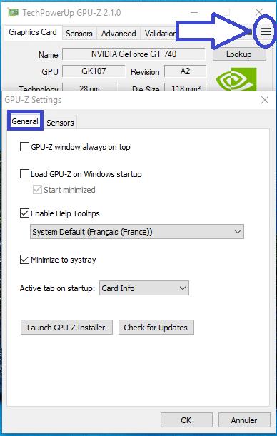 GPU-Z 2 OPTIONS