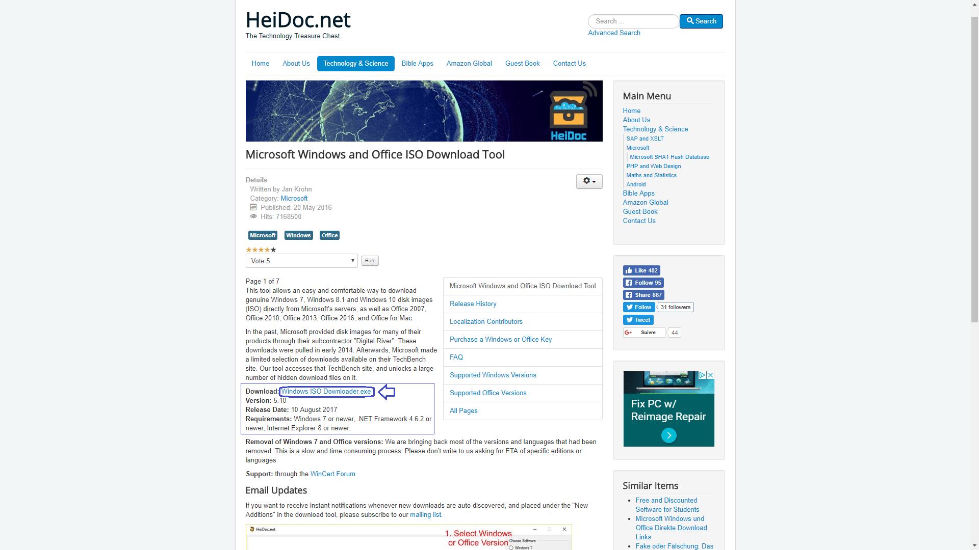 HeiDoc.net : téléchargez facilement des ISO de Windows