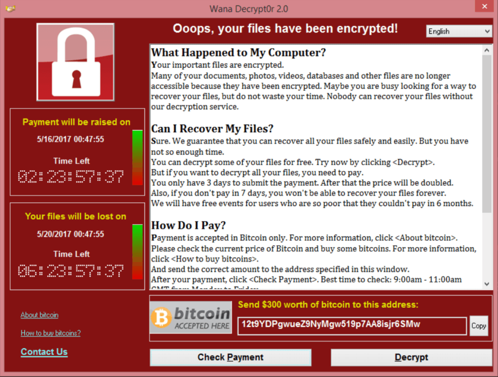 page WannaCrypt