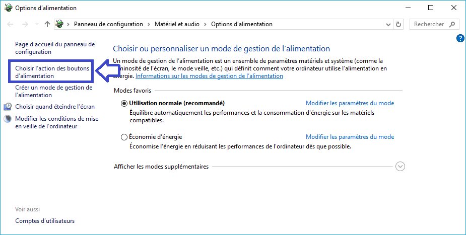 mode alimentation windows tuto