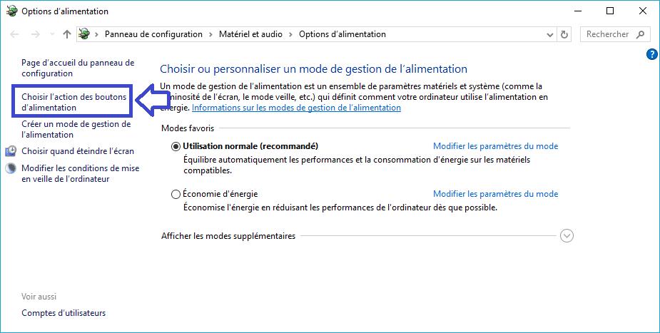 mode alimentation windows tuto