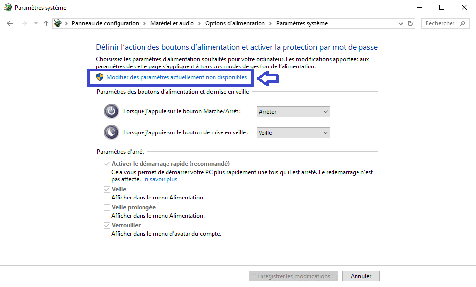 mode alimentation windows tutoriel