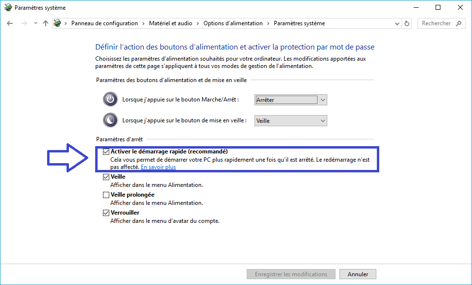 mode alimentation windows 10 tutoriel détaillé sospc