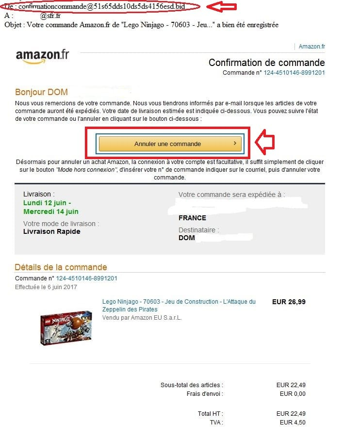faux mail amazon phishing