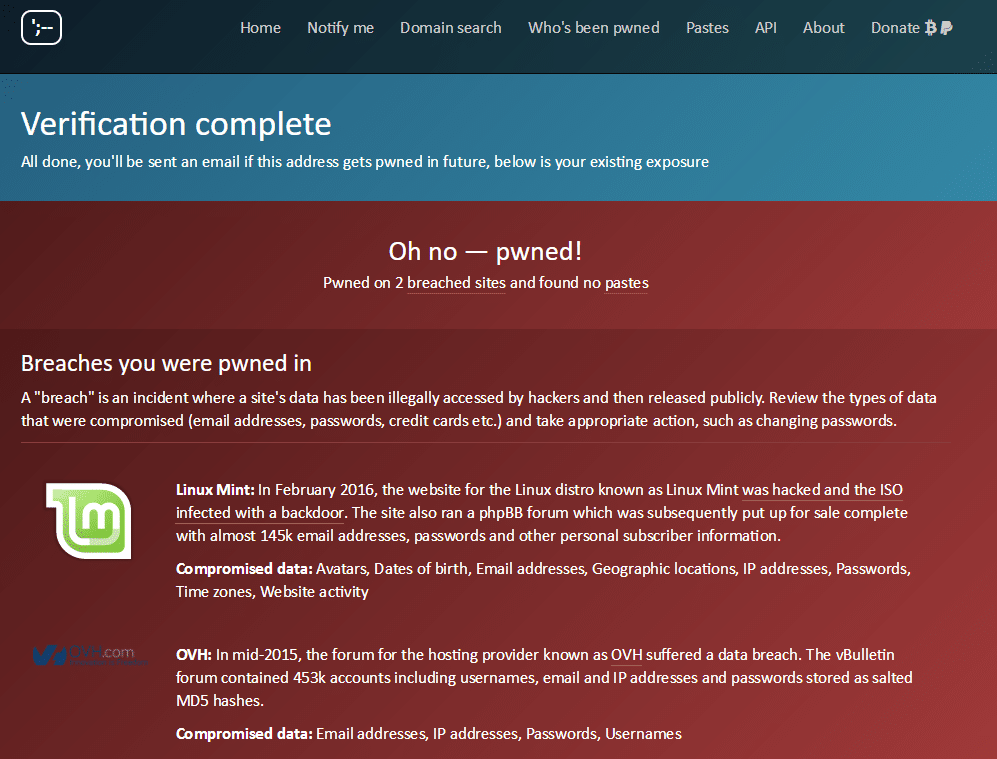 Haveibeenpwned.com tutoriel en français incription connaitre sites piratés