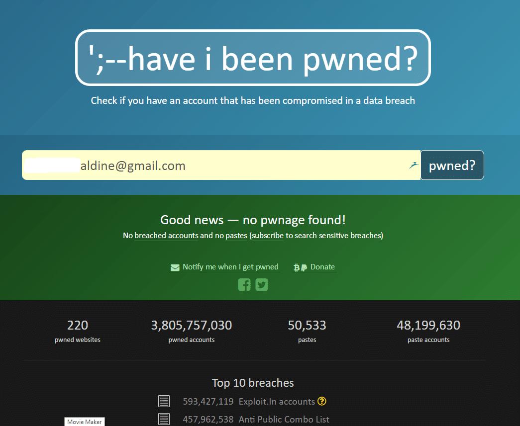 Haveibeenpwned.com tutoriel en français résultat vert